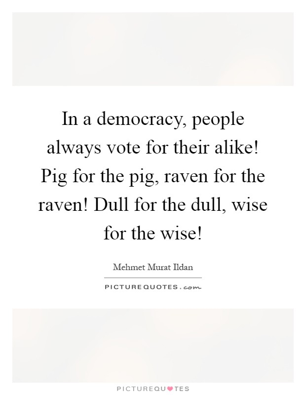 In a democracy, people always vote for their alike! Pig for the pig, raven for the raven! Dull for the dull, wise for the wise! Picture Quote #1