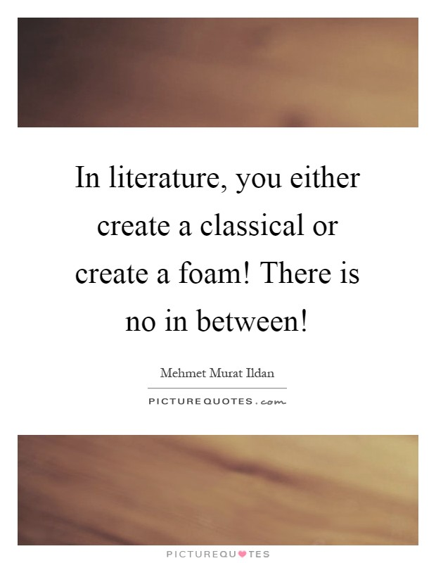 In literature, you either create a classical or create a foam! There is no in between! Picture Quote #1