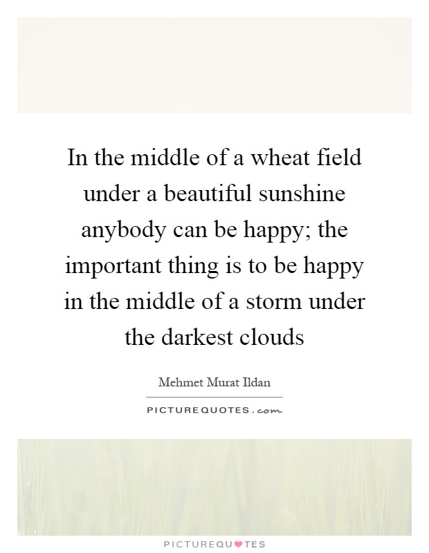 In the middle of a wheat field under a beautiful sunshine anybody can be happy; the important thing is to be happy in the middle of a storm under the darkest clouds Picture Quote #1