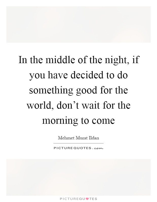 In the middle of the night, if you have decided to do something good for the world, don't wait for the morning to come Picture Quote #1