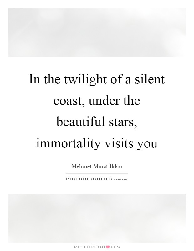 In the twilight of a silent coast, under the beautiful stars, immortality visits you Picture Quote #1