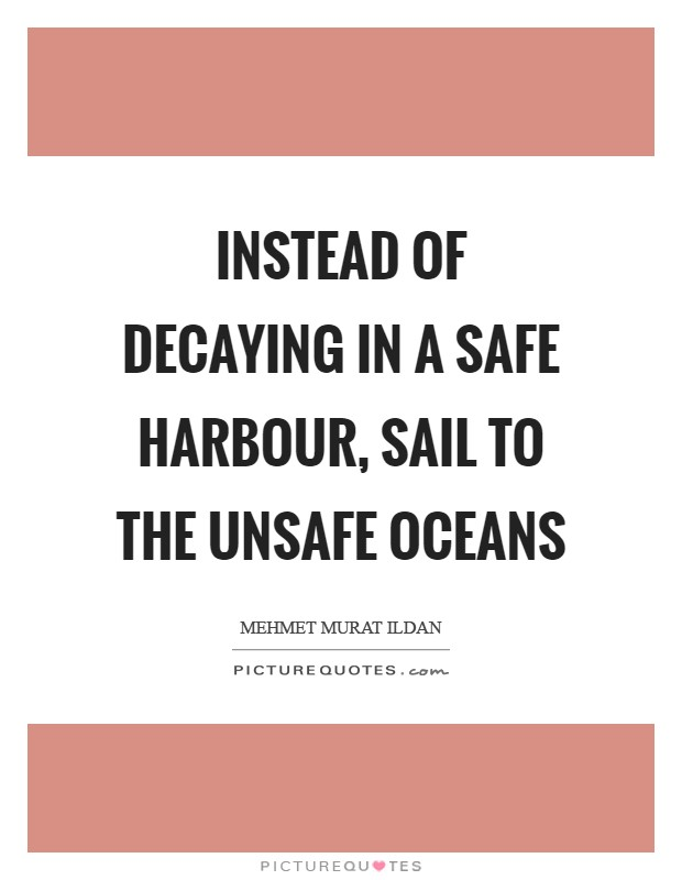 Instead of decaying in a safe harbour, sail to the unsafe oceans Picture Quote #1