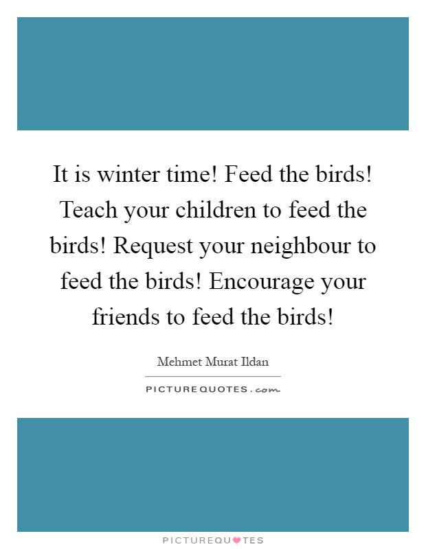 It is winter time! Feed the birds! Teach your children to feed the birds! Request your neighbour to feed the birds! Encourage your friends to feed the birds! Picture Quote #1