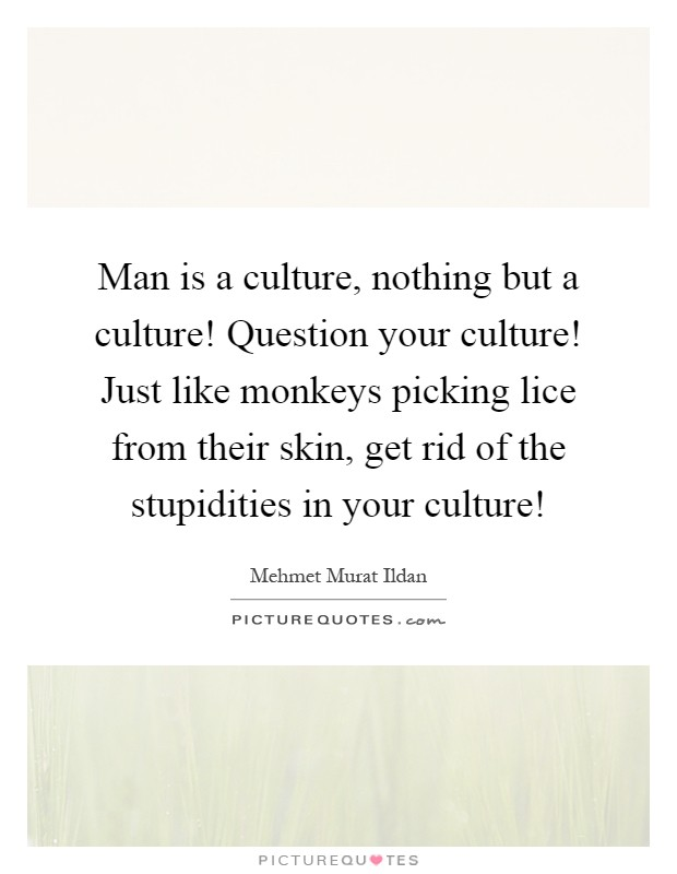 Man is a culture, nothing but a culture! Question your culture! Just like monkeys picking lice from their skin, get rid of the stupidities in your culture! Picture Quote #1