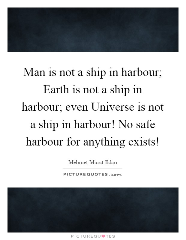 Man is not a ship in harbour; Earth is not a ship in harbour; even Universe is not a ship in harbour! No safe harbour for anything exists! Picture Quote #1