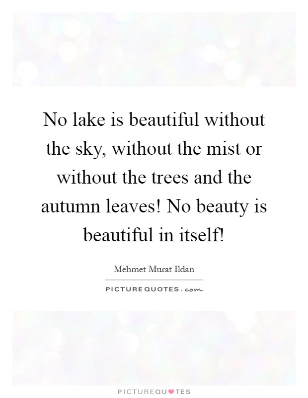 No lake is beautiful without the sky, without the mist or without the trees and the autumn leaves! No beauty is beautiful in itself! Picture Quote #1