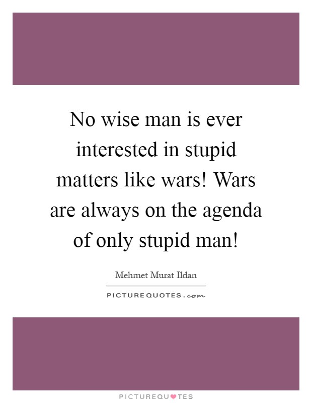 No wise man is ever interested in stupid matters like wars! Wars are always on the agenda of only stupid man! Picture Quote #1