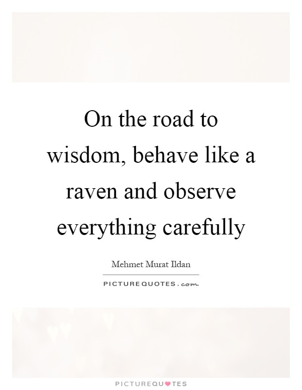 On the road to wisdom, behave like a raven and observe everything carefully Picture Quote #1