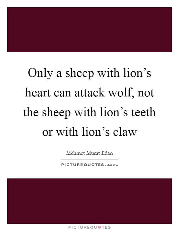 Only a sheep with lion's heart can attack wolf, not the sheep with lion's teeth or with lion's claw Picture Quote #1