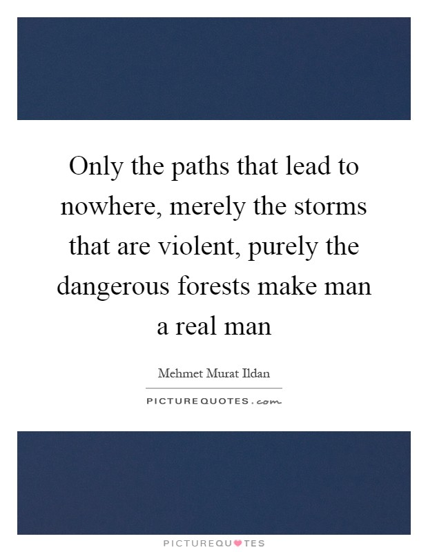 Only the paths that lead to nowhere, merely the storms that are violent, purely the dangerous forests make man a real man Picture Quote #1