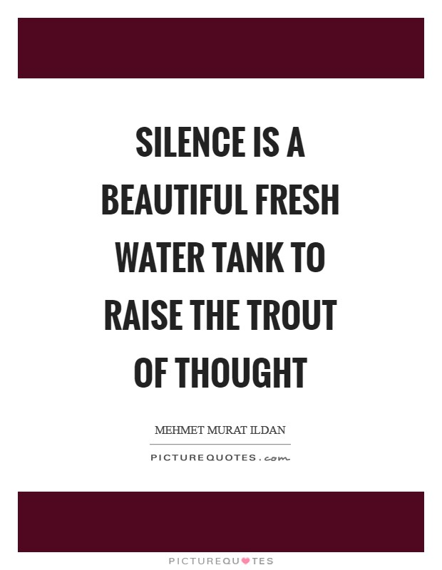 Silence is a beautiful fresh water tank to raise the trout of thought Picture Quote #1