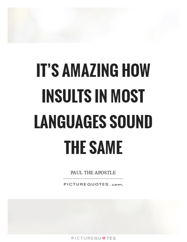 It's amazing how insults in most languages sound the same Picture Quote #1