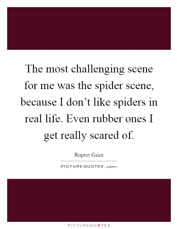 The most challenging scene for me was the spider scene, because I don't like spiders in real life. Even rubber ones I get really scared of Picture Quote #1