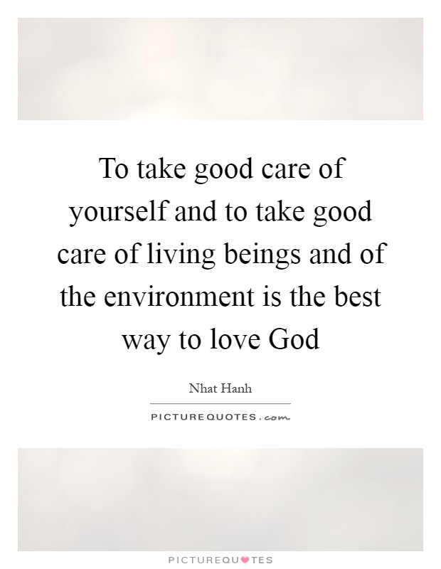 To take good care of yourself and to take good care of living beings and of the environment is the best way to love God Picture Quote #1