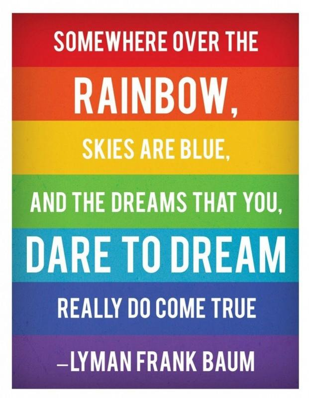 Somewhere over the rainbow, skies are blue, and the dreams that you dare to dream really do come true Picture Quote #1