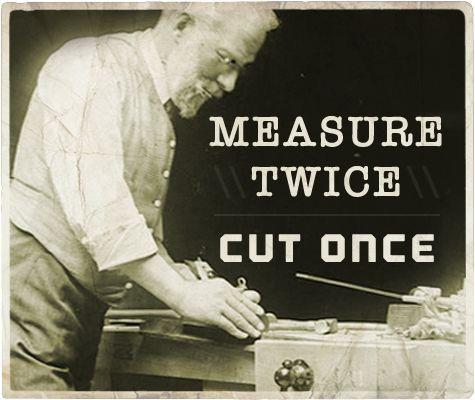Measure twice, cut once Picture Quote #1