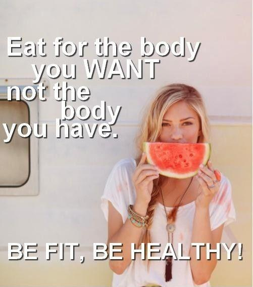 Eat for the body you want, not the body you have. Be fit, be healthy Picture Quote #1