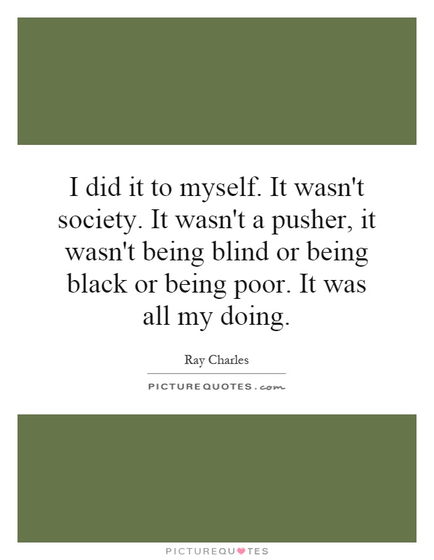 I did it to myself. It wasn't society. It wasn't a pusher, it wasn't being blind or being black or being poor. It was all my doing Picture Quote #1