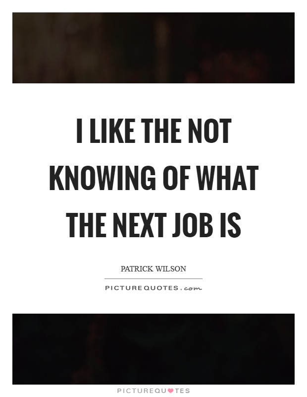I like the not knowing of what the next job is Picture Quote #1