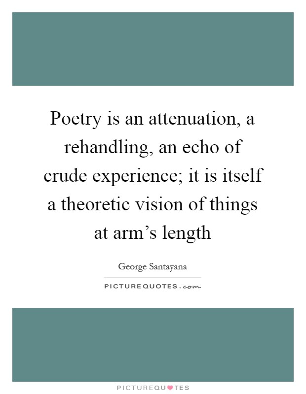 Poetry is an attenuation, a rehandling, an echo of crude experience; it is itself a theoretic vision of things at arm's length Picture Quote #1