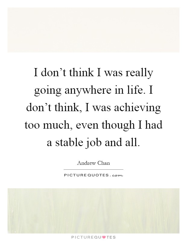 I don't think I was really going anywhere in life. I don't think, I was achieving too much, even though I had a stable job and all Picture Quote #1