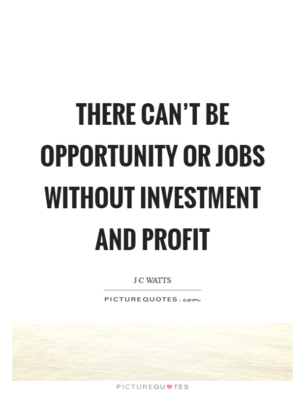 There can't be opportunity or jobs without investment and profit Picture Quote #1