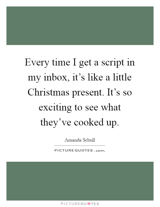 Every time I get a script in my inbox, it's like a little Christmas present. It's so exciting to see what they've cooked up Picture Quote #1