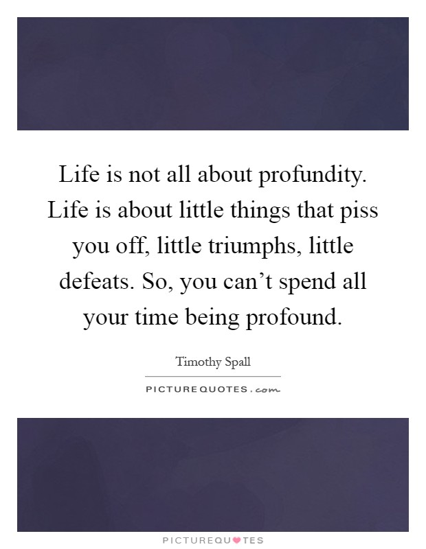 Life is not all about profundity. Life is about little things that piss you off, little triumphs, little defeats. So, you can't spend all your time being profound Picture Quote #1