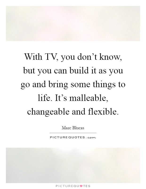 With TV, you don't know, but you can build it as you go and bring some things to life. It's malleable, changeable and flexible Picture Quote #1