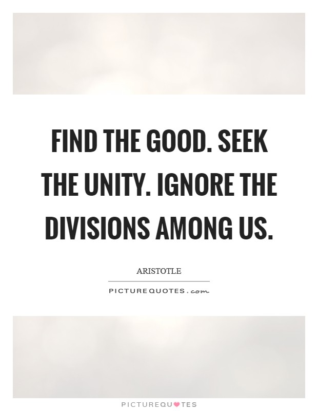 Find the good. Seek the Unity. Ignore the divisions among us Picture Quote #1