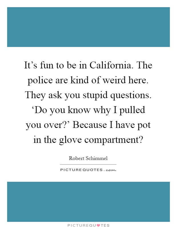 It's fun to be in California. The police are kind of weird here. They ask you stupid questions. 'Do you know why I pulled you over?' Because I have pot in the glove compartment? Picture Quote #1