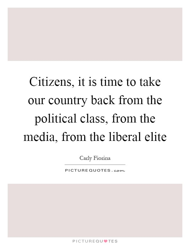 Citizens, it is time to take our country back from the political class, from the media, from the liberal elite Picture Quote #1
