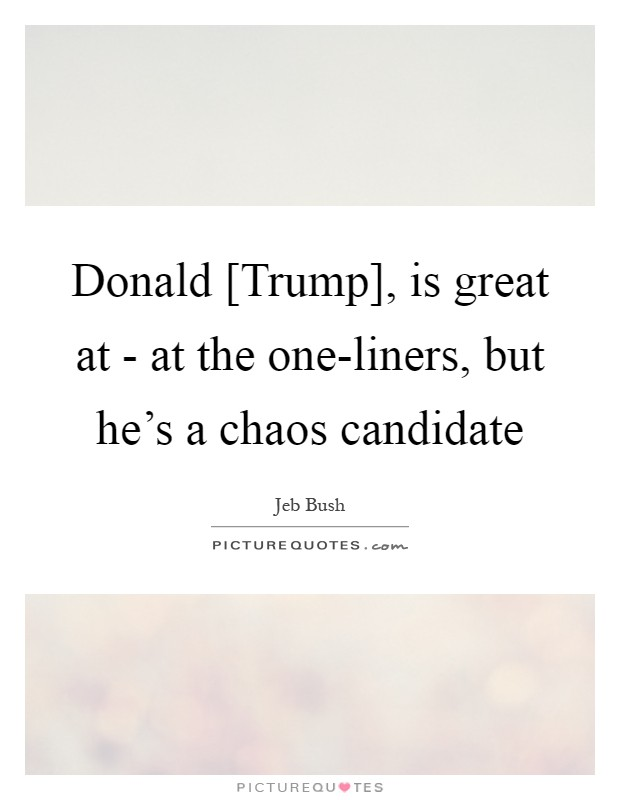 Donald [Trump], is great at - at the one-liners, but he's a chaos candidate Picture Quote #1