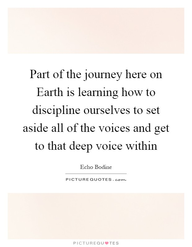 Part of the journey here on Earth is learning how to discipline ourselves to set aside all of the voices and get to that deep voice within Picture Quote #1