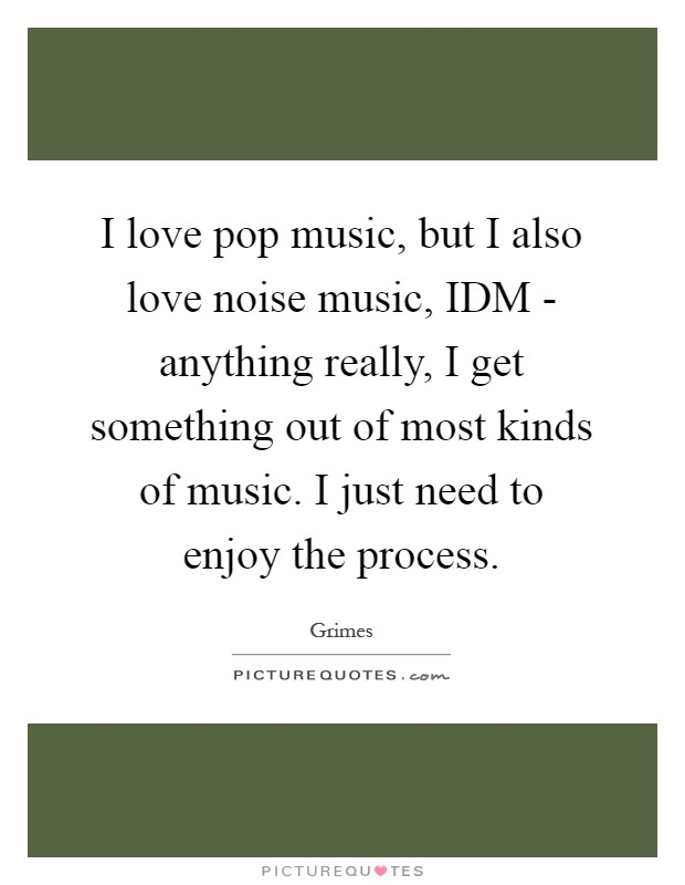 I love pop music, but I also love noise music, IDM - anything really, I get something out of most kinds of music. I just need to enjoy the process Picture Quote #1