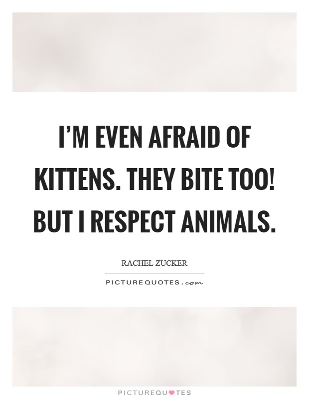 I'm even afraid of kittens. They bite too! But I respect animals Picture Quote #1