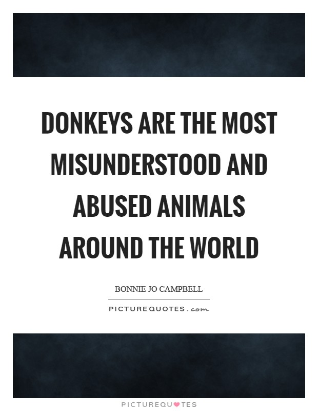 Donkeys are the most misunderstood and abused animals around the world Picture Quote #1