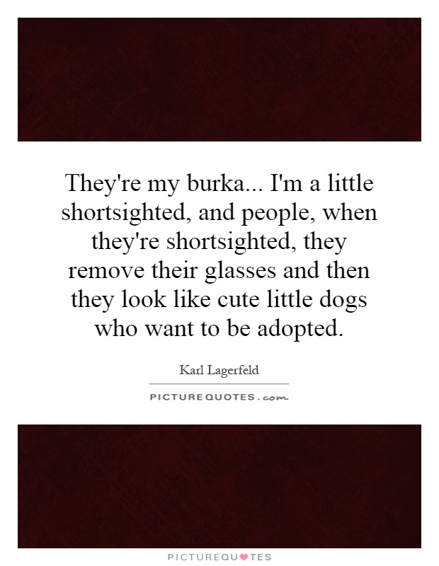 They're my burka... I'm a little shortsighted, and people, when they're shortsighted, they remove their glasses and then they look like cute little dogs who want to be adopted Picture Quote #1