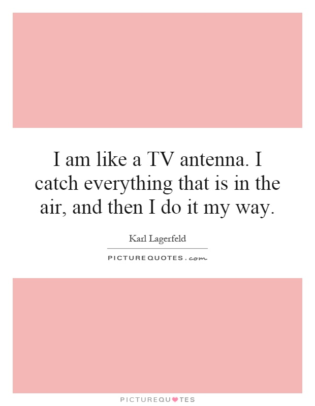 I am like a TV antenna. I catch everything that is in the air, and then I do it my way Picture Quote #1