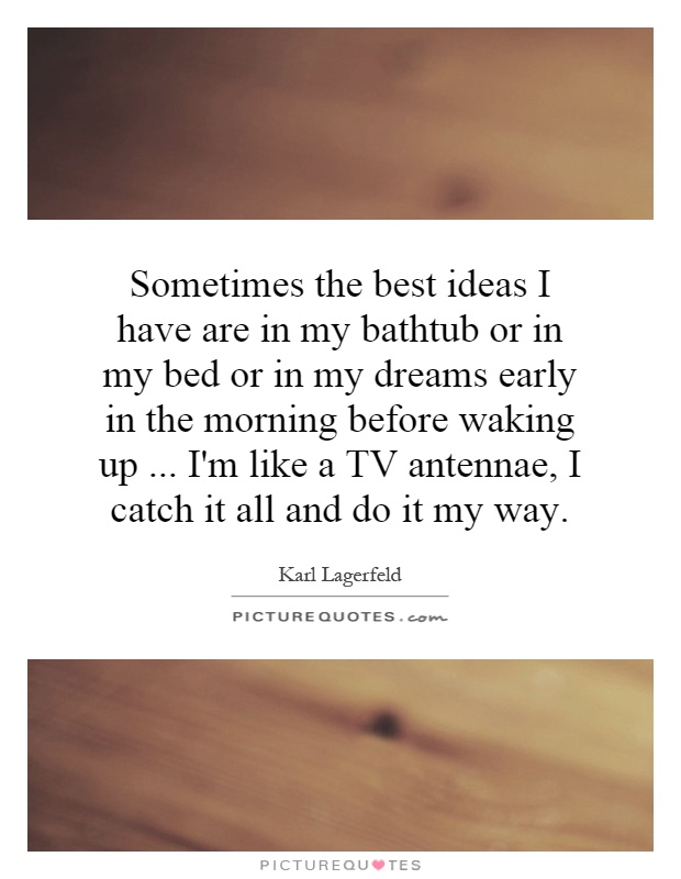 Sometimes the best ideas I have are in my bathtub or in my bed or in my dreams early in the morning before waking up... I'm like a TV antennae, I catch it all and do it my way Picture Quote #1