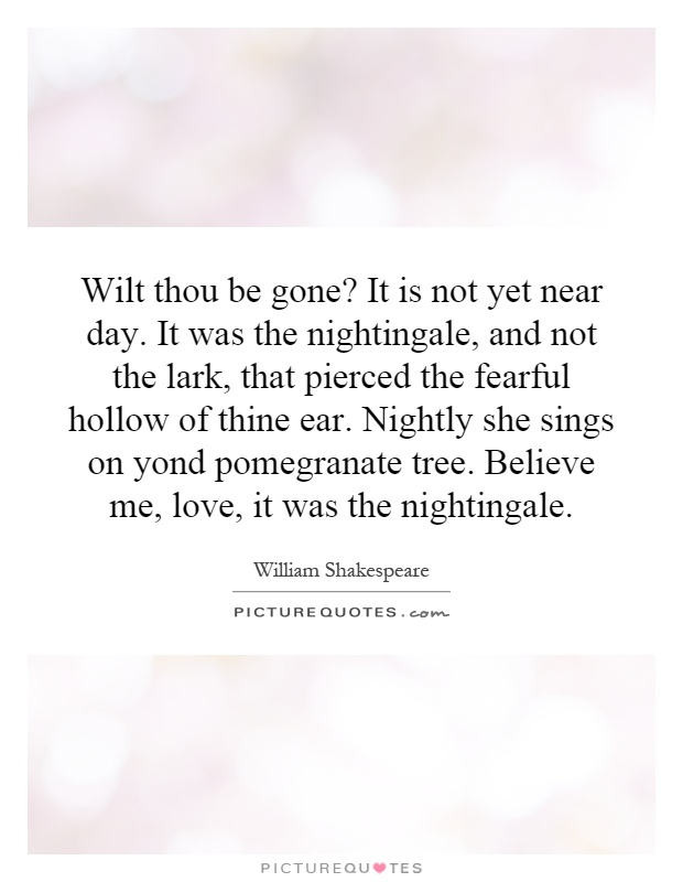 Wilt thou be gone? It is not yet near day. It was the nightingale, and not the lark, that pierced the fearful hollow of thine ear. Nightly she sings on yond pomegranate tree. Believe me, love, it was the nightingale Picture Quote #1