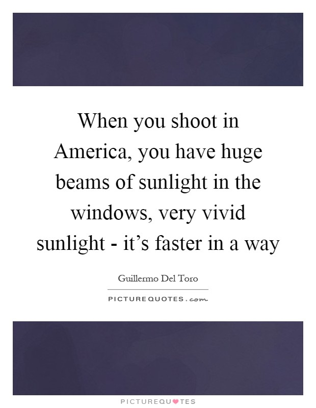 When you shoot in America, you have huge beams of sunlight in the windows, very vivid sunlight - it's faster in a way Picture Quote #1