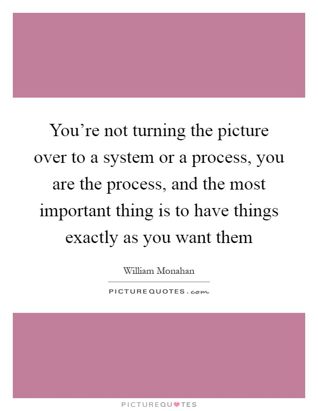 You're not turning the picture over to a system or a process, you are the process, and the most important thing is to have things exactly as you want them Picture Quote #1