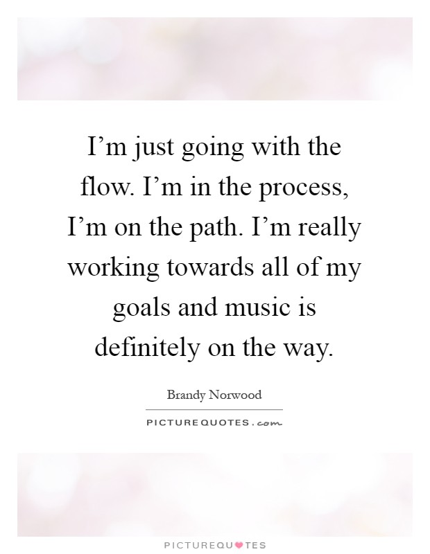 I'm just going with the flow. I'm in the process, I'm on the path. I'm really working towards all of my goals and music is definitely on the way Picture Quote #1