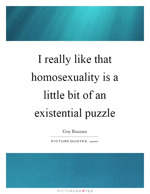 I really like that homosexuality is a little bit of an existential puzzle Picture Quote #1