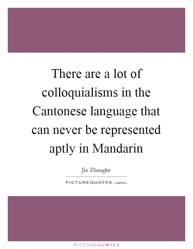 There are a lot of colloquialisms in the Cantonese language that can never be represented aptly in Mandarin Picture Quote #1