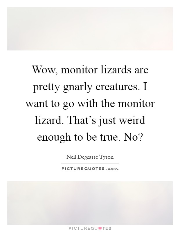 Wow, monitor lizards are pretty gnarly creatures. I want to go with the monitor lizard. That's just weird enough to be true. No? Picture Quote #1