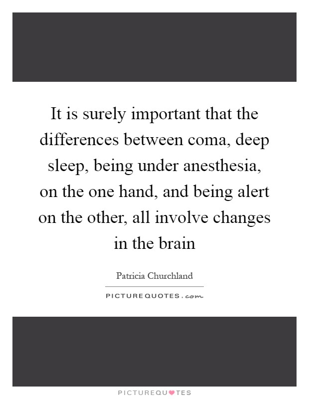 It is surely important that the differences between coma, deep sleep, being under anesthesia, on the one hand, and being alert on the other, all involve changes in the brain Picture Quote #1