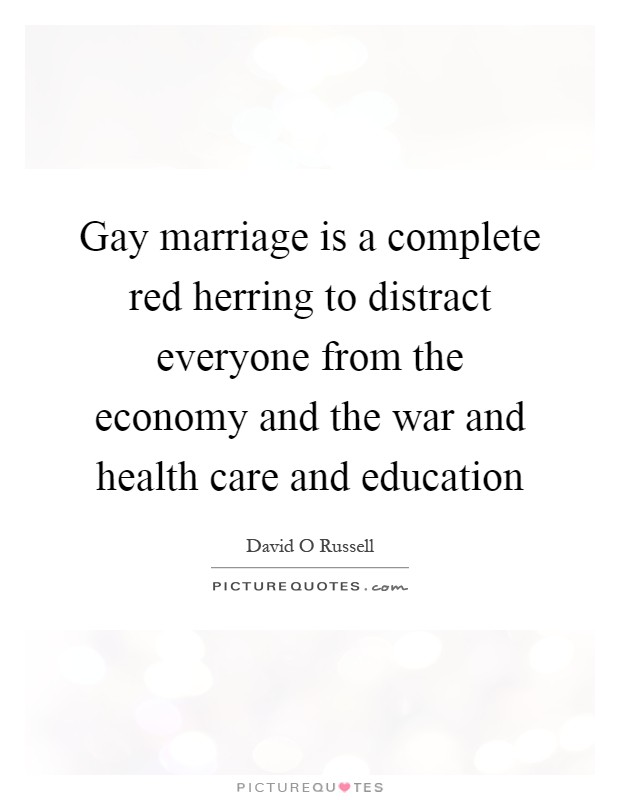 Gay marriage is a complete red herring to distract everyone from the economy and the war and health care and education Picture Quote #1