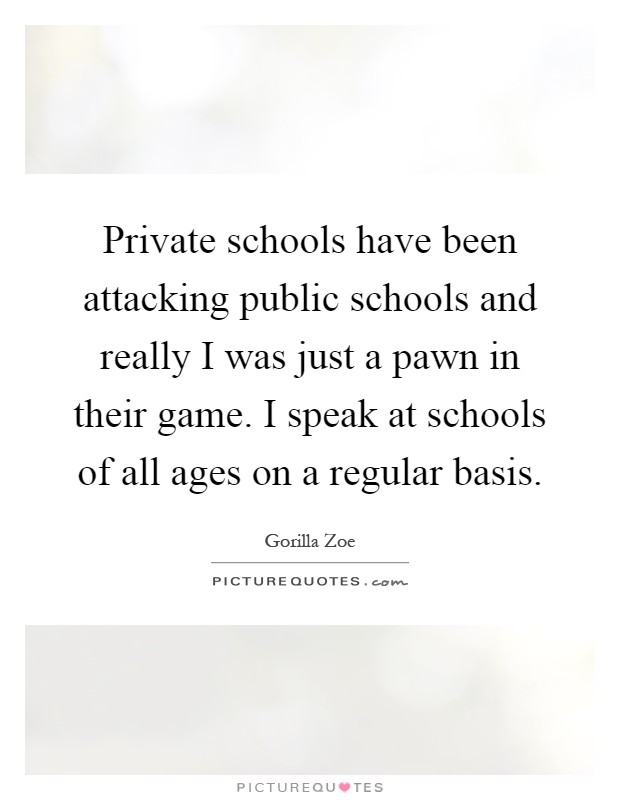 Private schools have been attacking public schools and really I was just a pawn in their game. I speak at schools of all ages on a regular basis Picture Quote #1